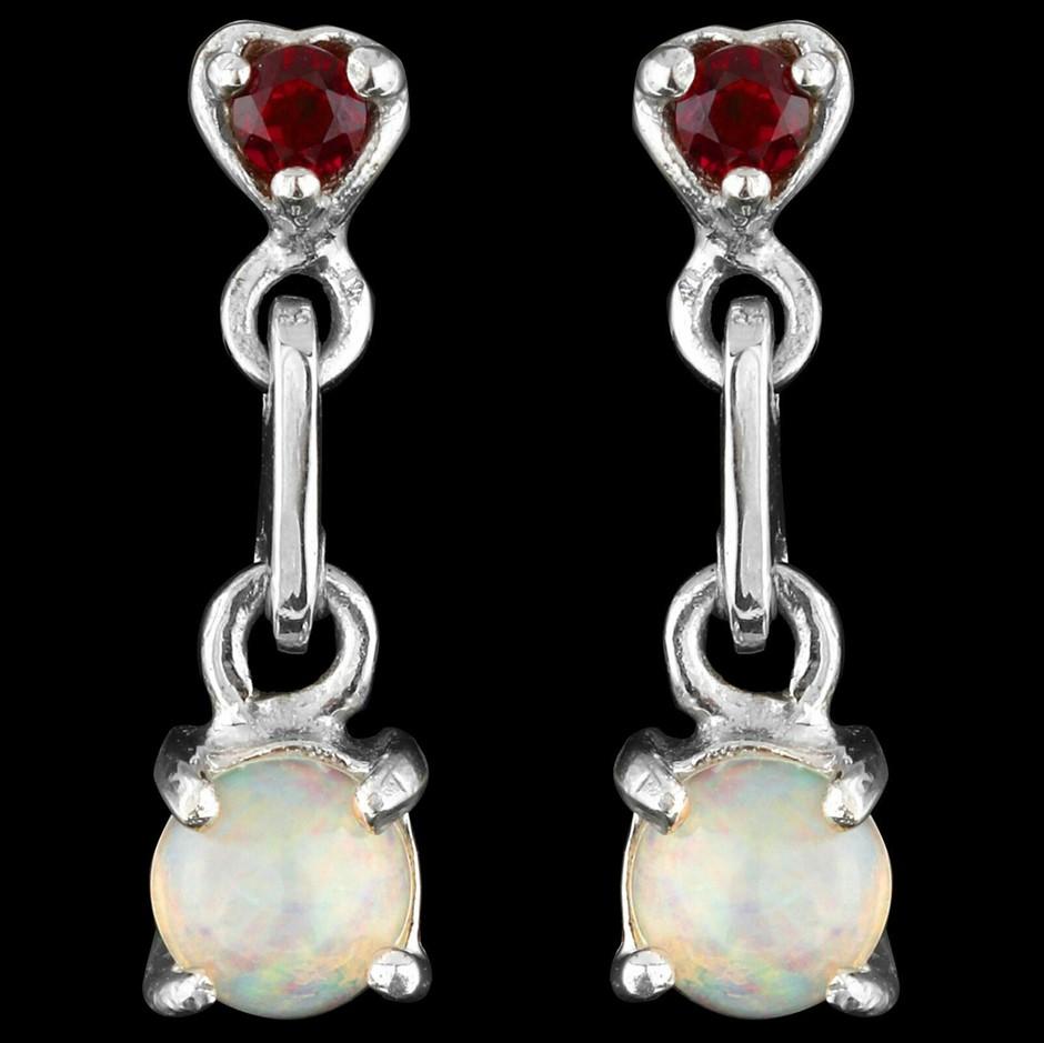 Gorgeous White Opal & Garnet Earrings 925 Silver