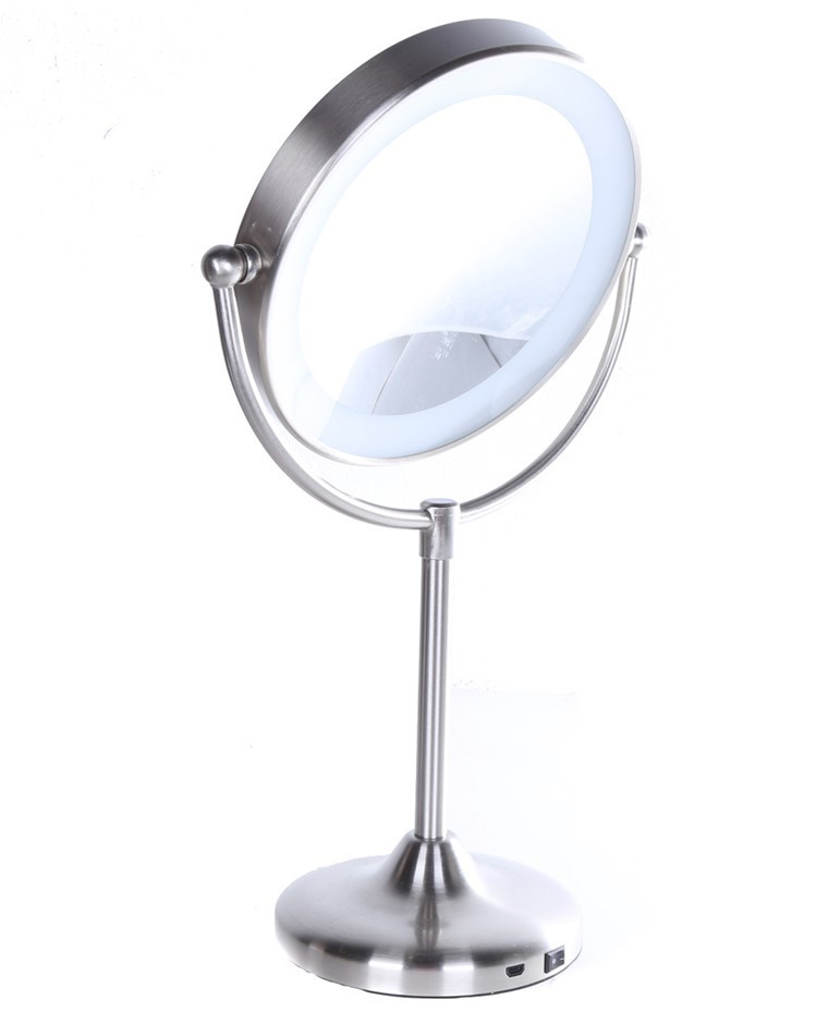 FEIT ENHANCE Rechargeable LED Vanity Mirror Touch Control Base, Brushed Nic