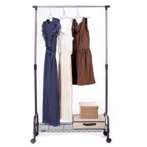 Extendable Mobile Clothes Rack 340mm D x 760mm W x 1600mm L to 130mm D x 30