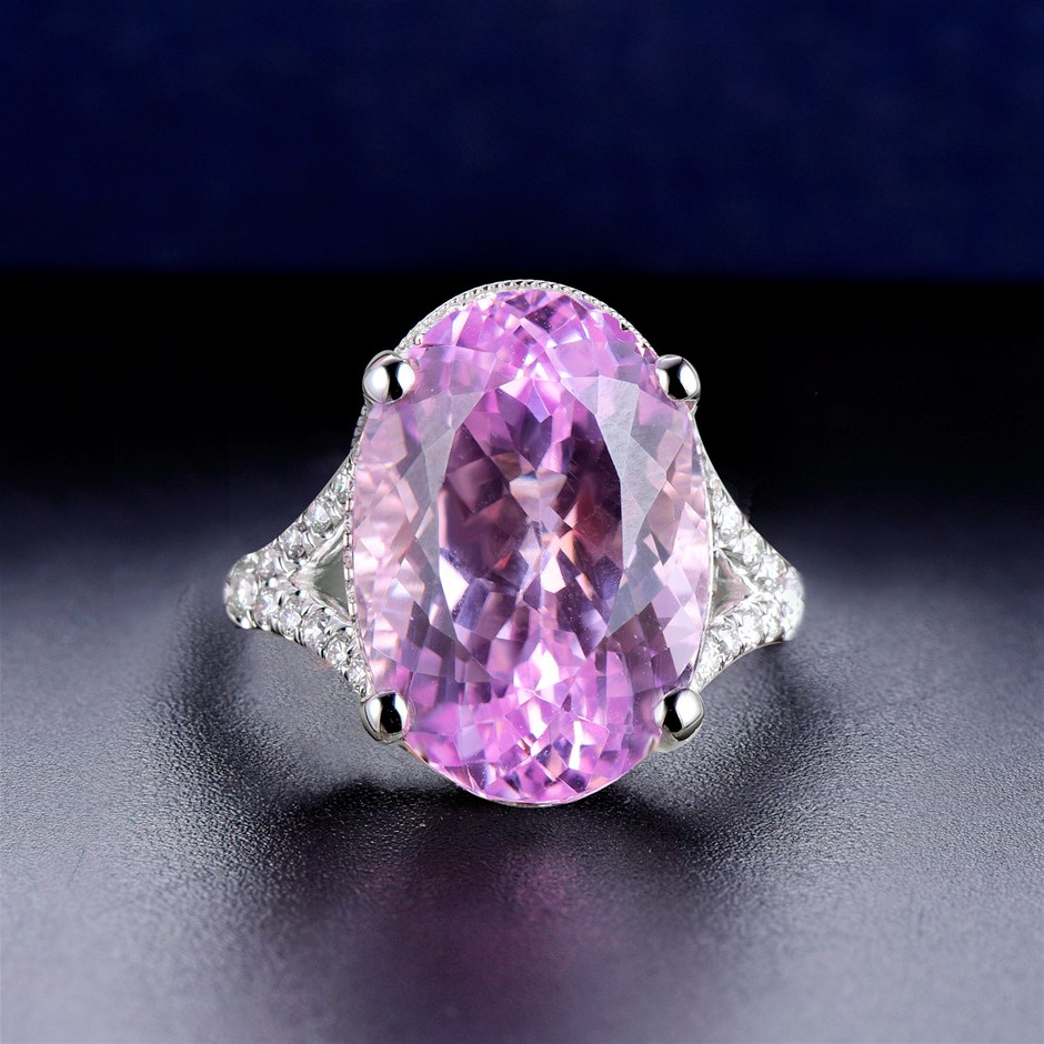 18ct White Gold, 9.41ct Kunzite and Diamond Ring