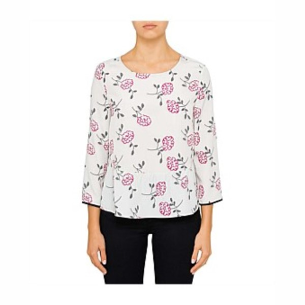 ARMANI EXCHANGE Printed Floral Top. Size S, Colour: Grey. Buyers Note - Dis