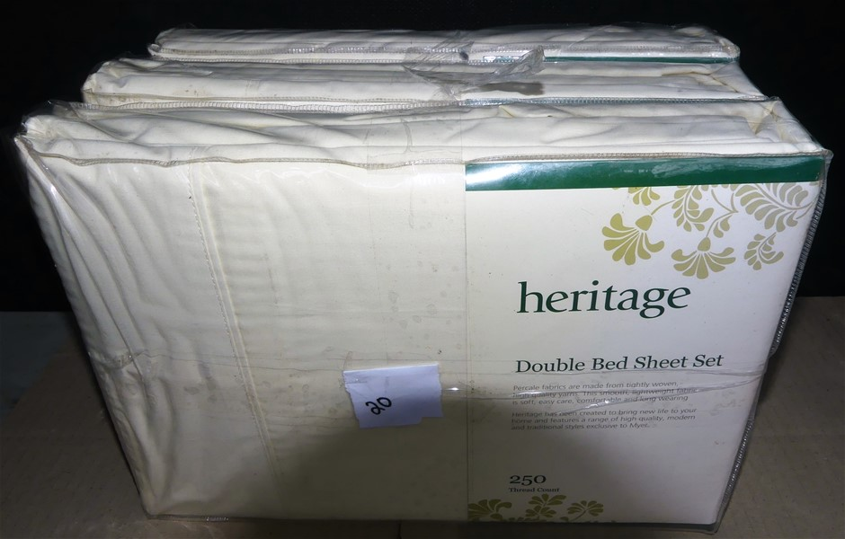 3 x Heritage Double 250 Thread Count Bed Sheet Set - Total RRP $269.85