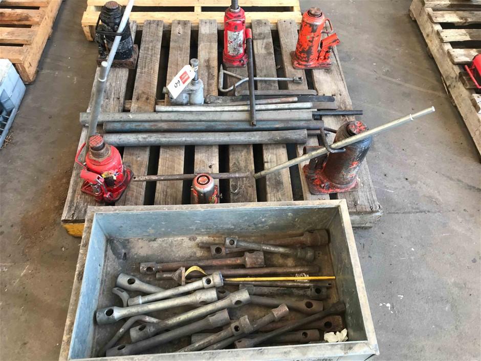 Qty of Hydraulic Bottle Jacks, Wheel Braces, Etc.