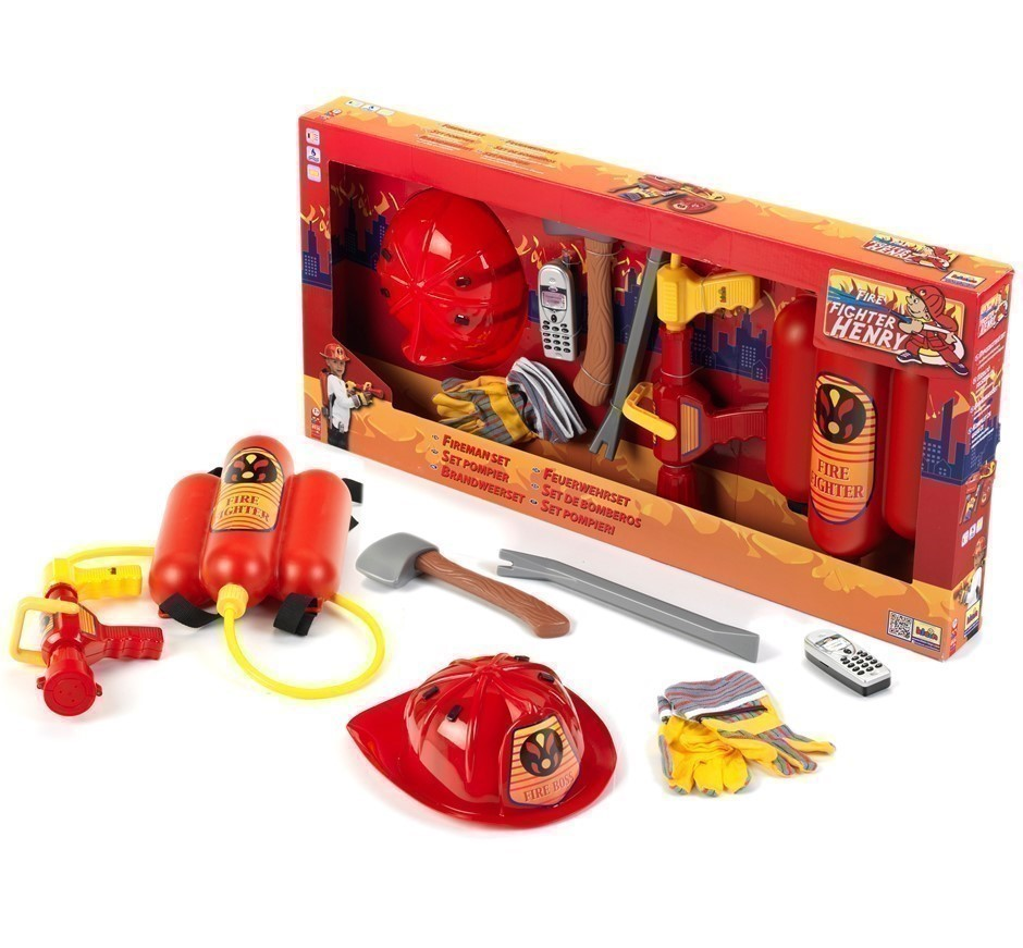 KLEIN Fire Fighter Henry 7pc Toy Fireman Set. Featuring Real Water Spraying