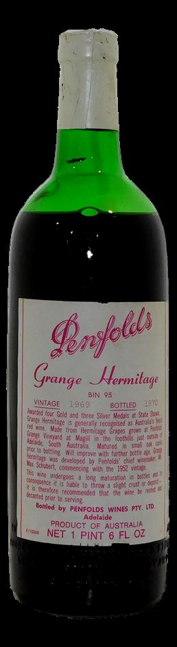 Penfolds Grange Hermitage Bin 95 Shiraz 1969 (1x 1PT 6 FL OZ), SA. Cork