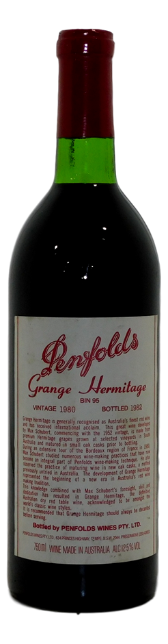 Penfolds Grange Hermitage Bin 95 Shiraz 1980 (1x 750mL), SA. Cork