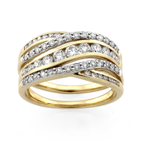 Ladies Yellow Gold Vermeil White CZ Crossover Ring.