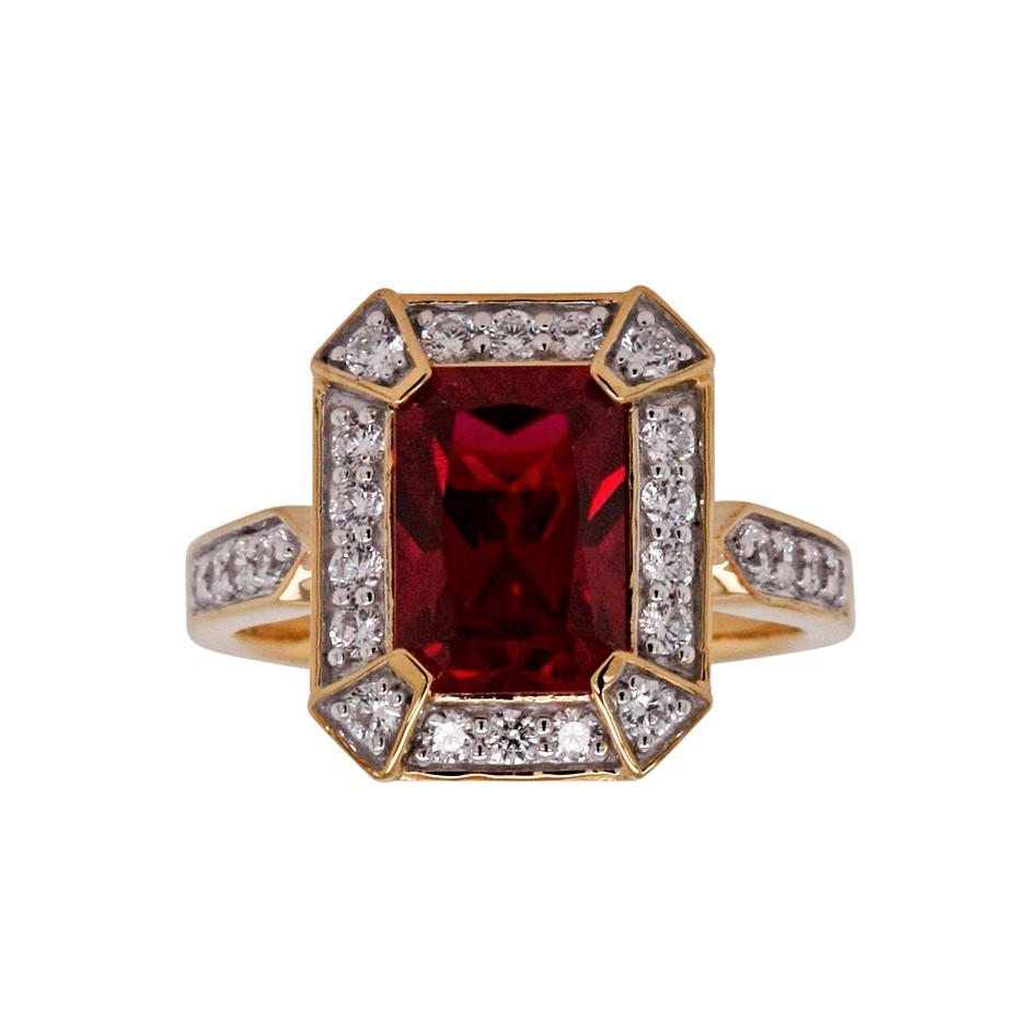 Ladies Yellow Gold Vermeil Ruby (CR) & White CZ Deco Style Ring.