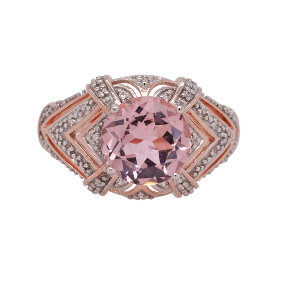 Ladies Pink Gold Vermeil Morganite (CR) & White CZ Deco Design Ring.