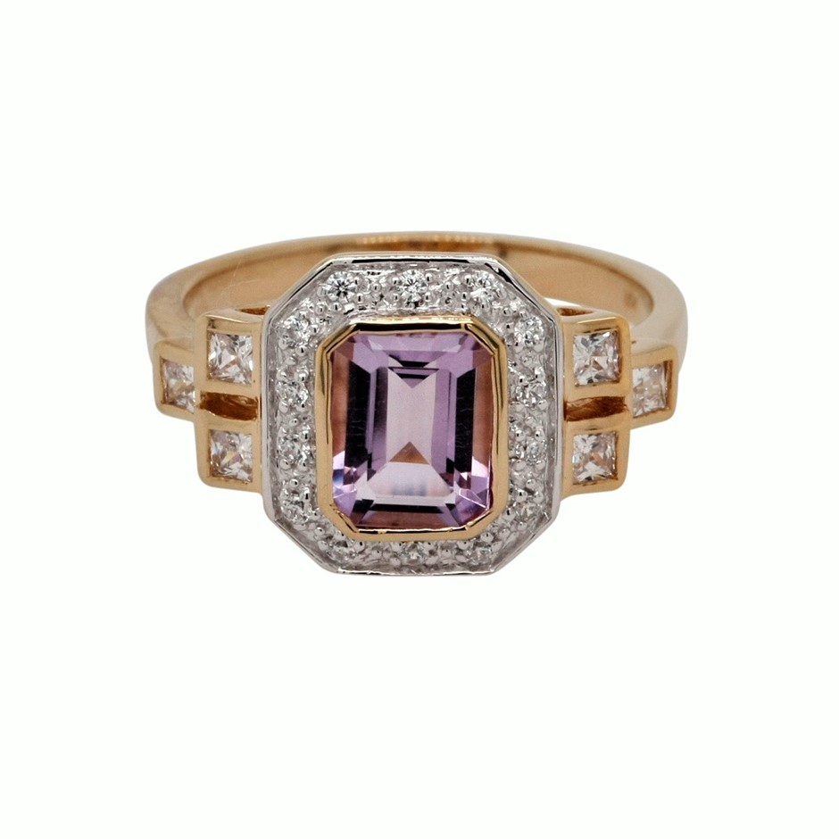 Ladies Yellow Gold Vermeil Pink Amethyst & White CZ Deco Design Ring.