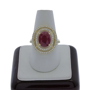 9ct Yellow Gold, 3.66ct Ruby and Diamond
