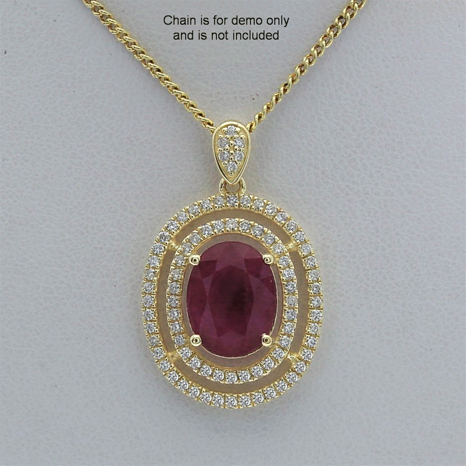 9ct Yellow Gold, 3.58ct Ruby and Diamond Pendant