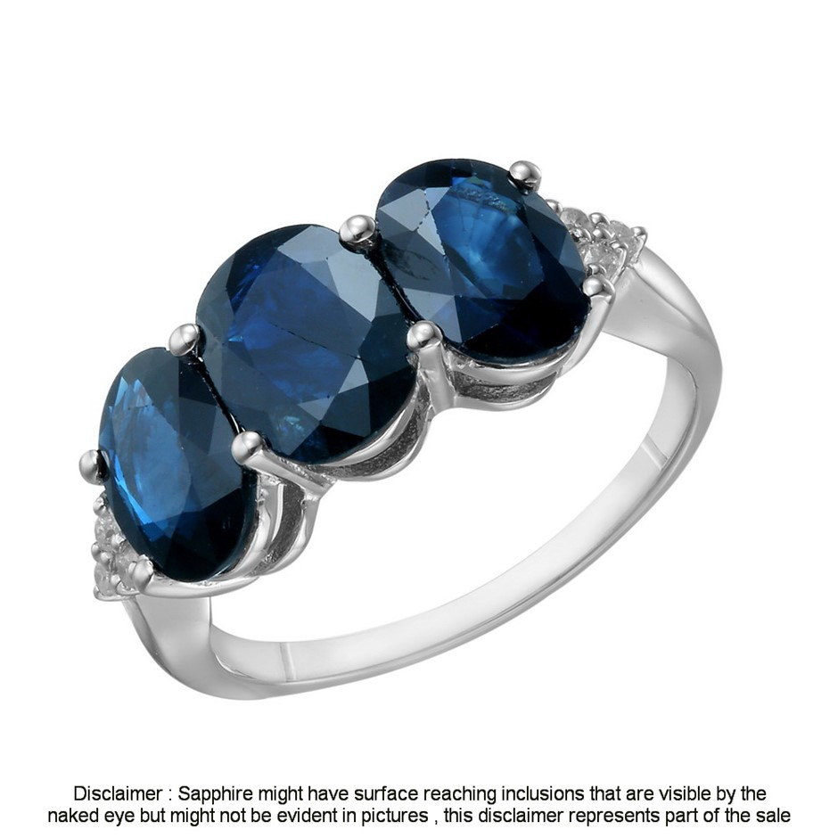 9ct White Gold, 5.00ct Blue Sapphire and Diamond Ring