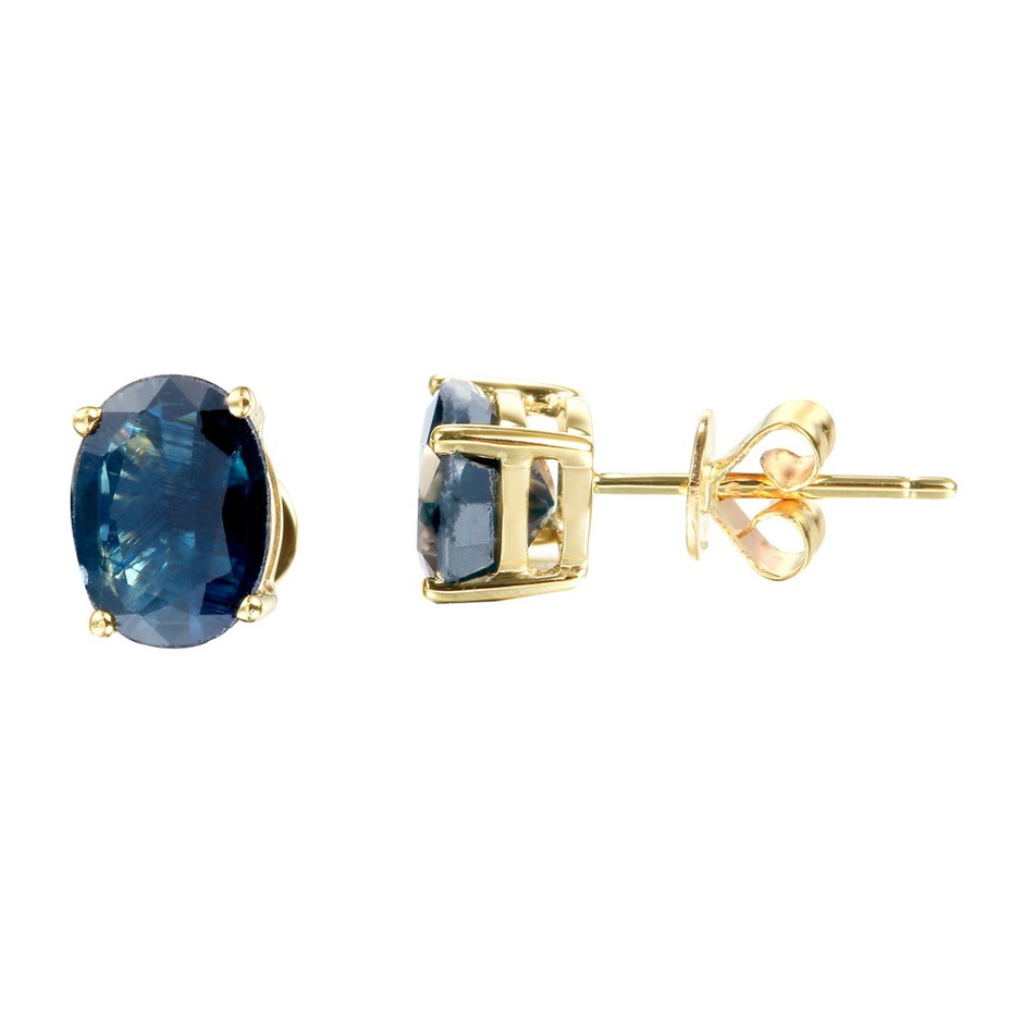 9ct Yellow Gold, 3.11ct Blue Sapphire Earring