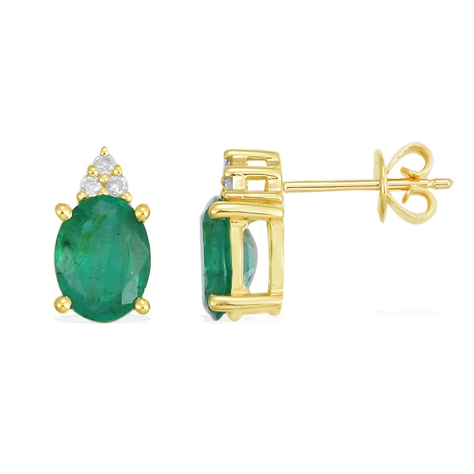 9ct Yellow Gold, 1.36ct Emerald and Diamond Earring