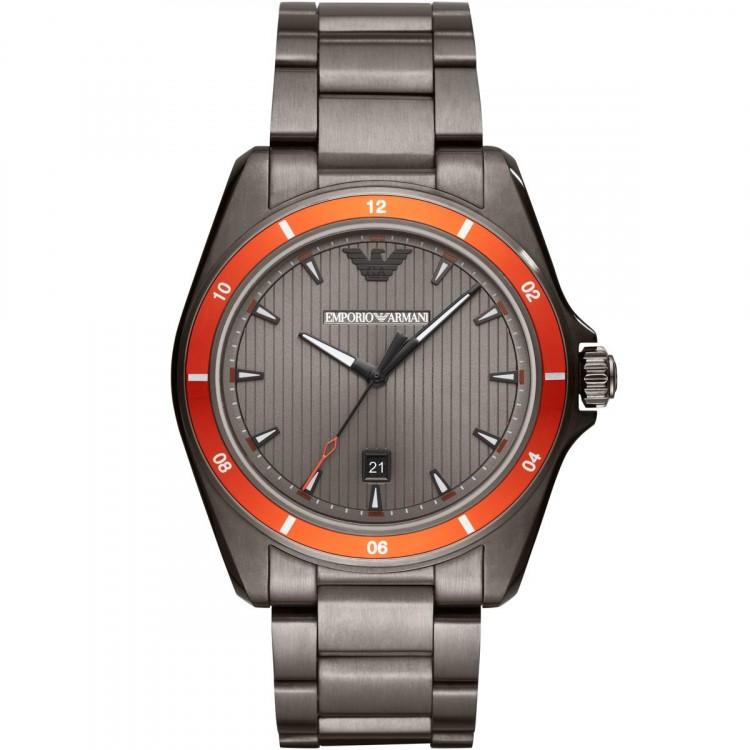 Vibrant and sporty Emporio Armani stainless steel men's watch.