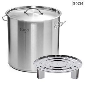 SOGA 30cm S/S Stock Pot w/ One Steamer R