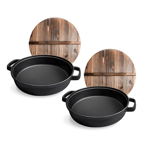 SOGA 2X 35cm Cast Iron Pre-seasoned Deep