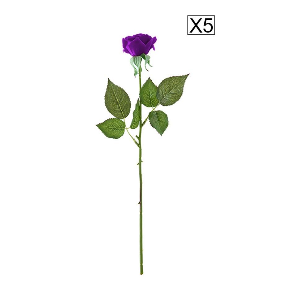 SOGA 5pcs Artificial Silk Flower Fake Rose Bouquet Table Decor Purple