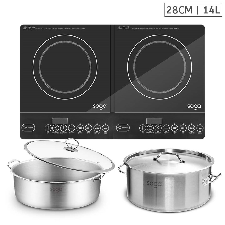 SOGA Dual Burners Cooktop Stove, 14L S/S Stockpot, 28cm Induction Casserole