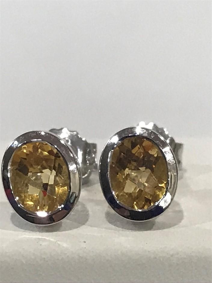 Stunning Genuine 2.20ct Golden Citrine & 18K W/Gold Vermeil Earrings