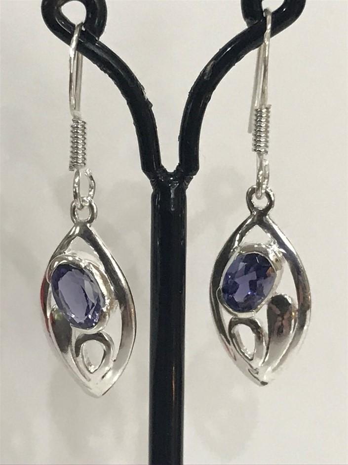 Classical Genuine 1.10ct Iolite (Water Sapphire) Drop Earrings