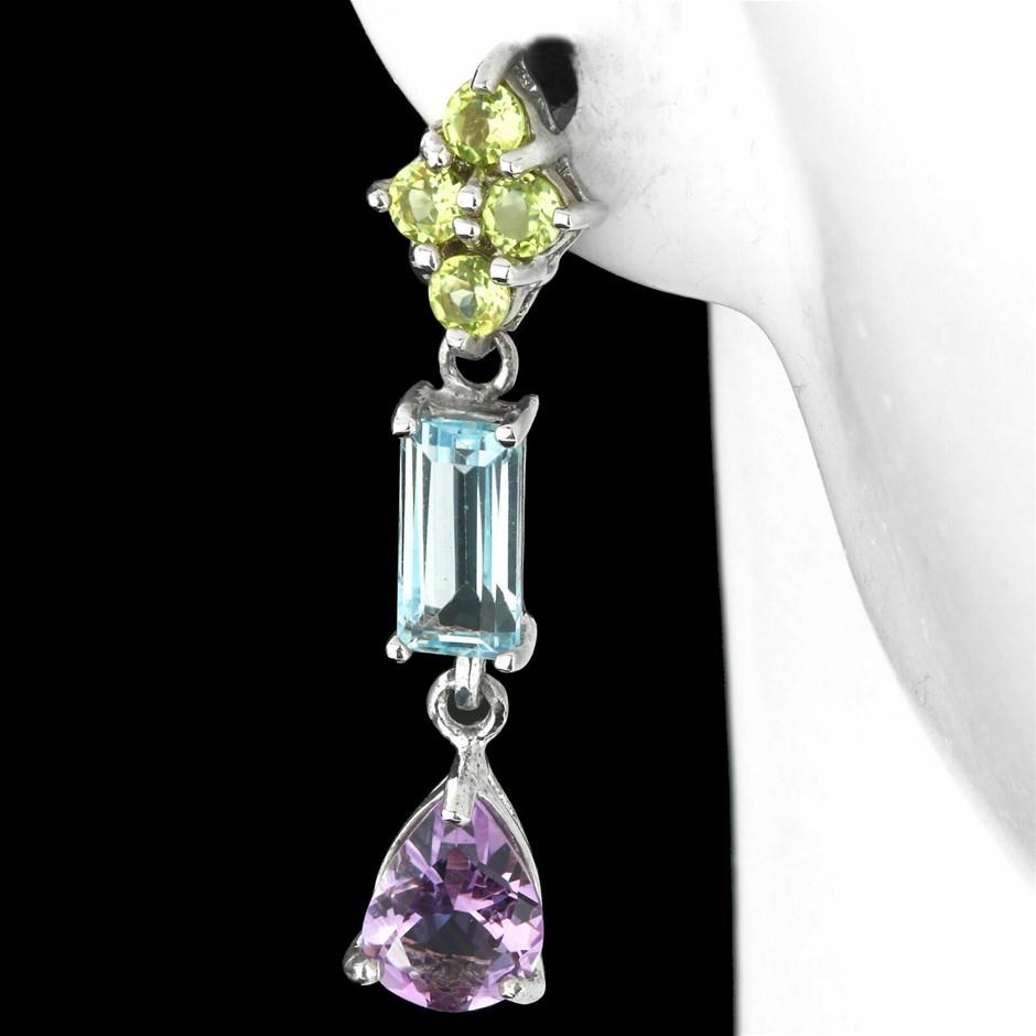 Sterling Silver Peridot, Blue Topaz & Amethyst Earrings