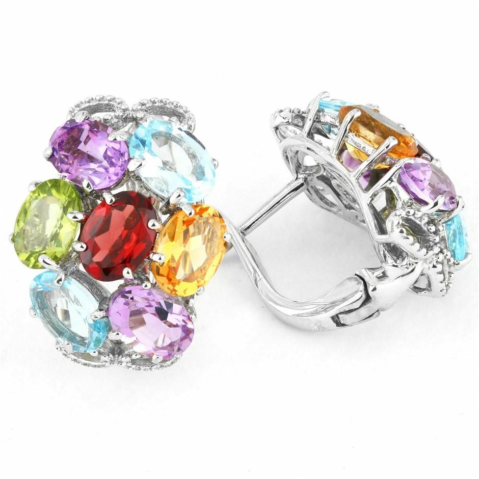 Gorgeous Sterling Silver Multi Gemstone Earrings