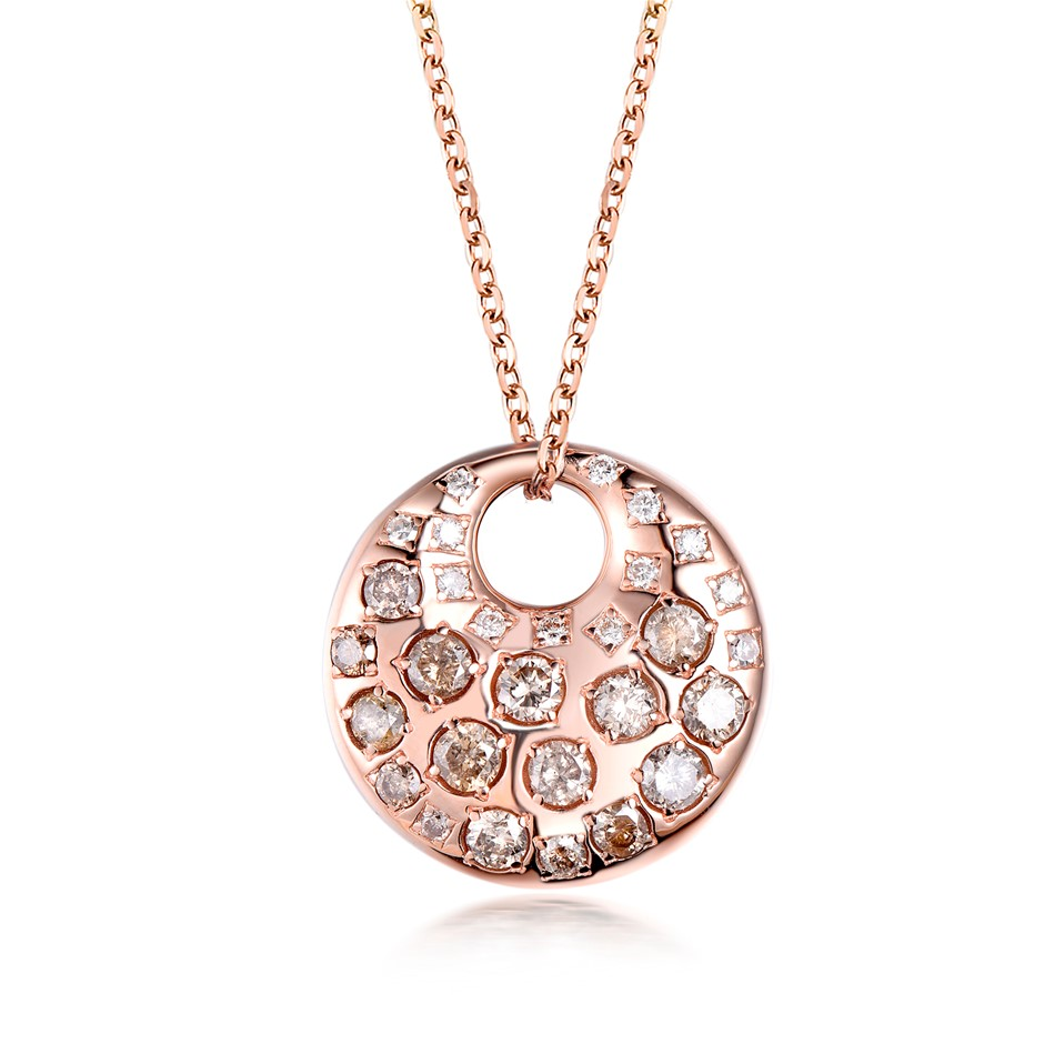 18ct Rose Gold, 1.54ct Diamond Pendant