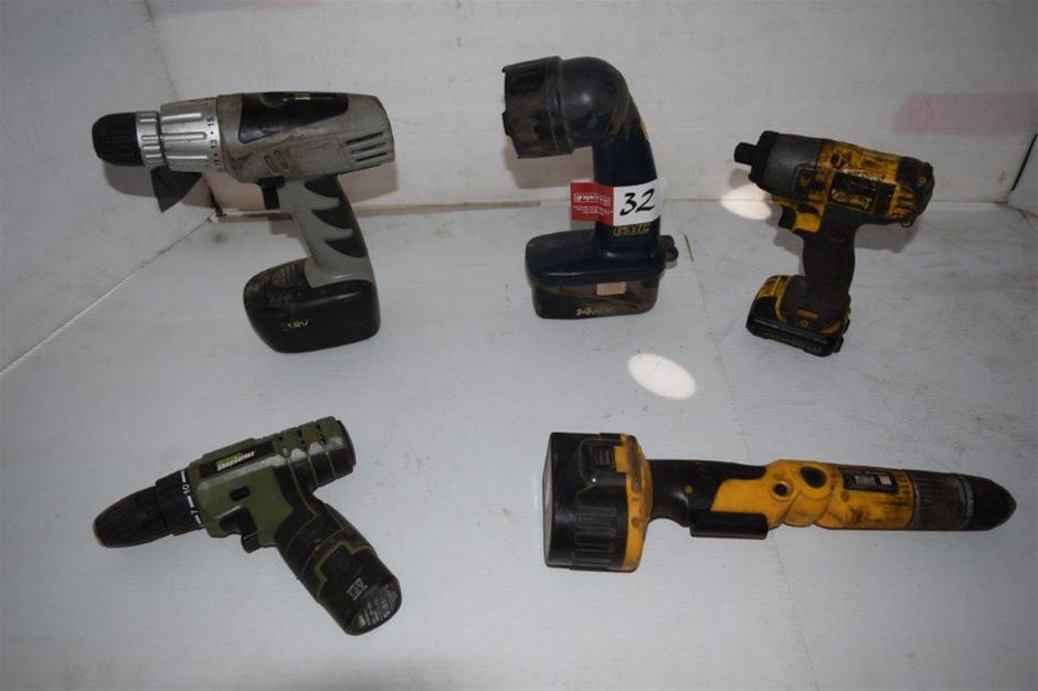 Lot of 5 Assorted Cordless Power Tools