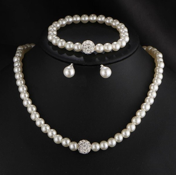 Silver Color Pearl Jewellery Sets For Women Vintage Necklace