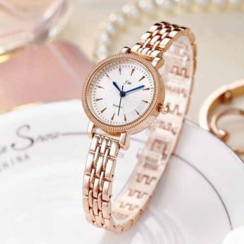 Luxury Rose Gold Stainless Steel Round Face Shiny Watch