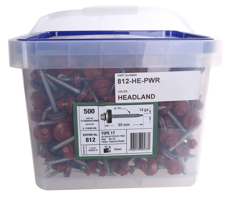 Pack of 500 x POWERS Self Drilling Hex Head Timber Screws 65mm x 14G c/w Se