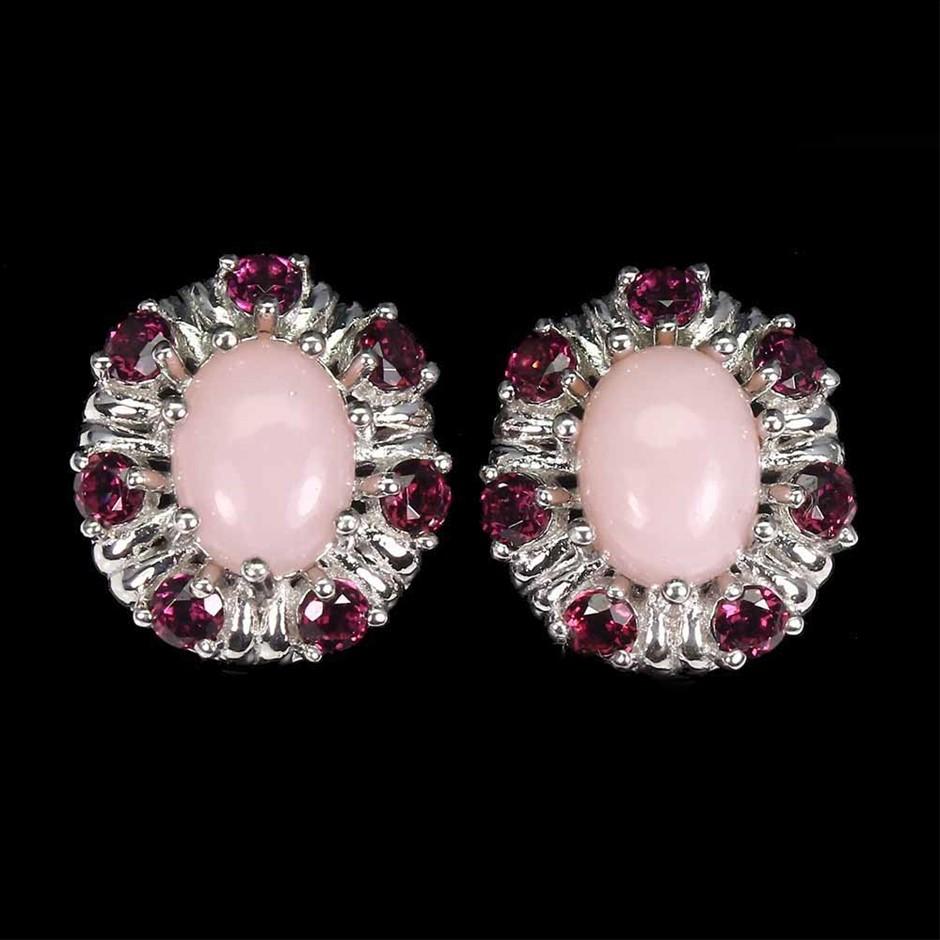 Beautiful Genuine Pink Opal & Garnet Earrings