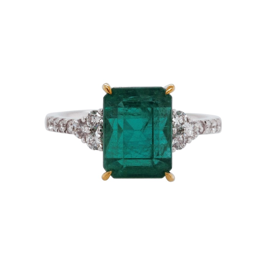 18ct White Gold, 5.72ct Emerald and Diamond Ring