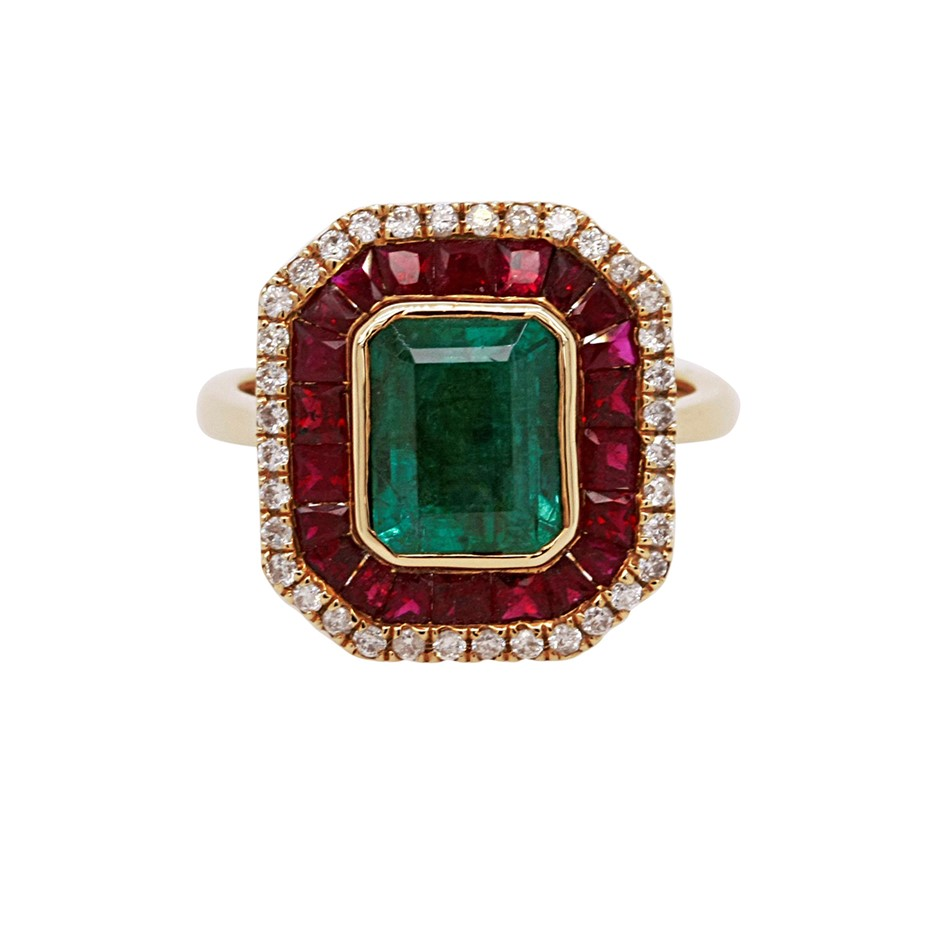 18ct Yellow Gold, 3.61ct Emerald and Diamond Ring