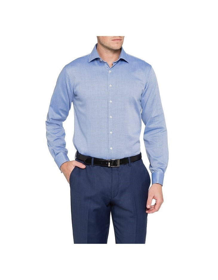 VAN HEUSEN Navy Self Herringbone European Tailored Fit Shirt. Size 43. 60%