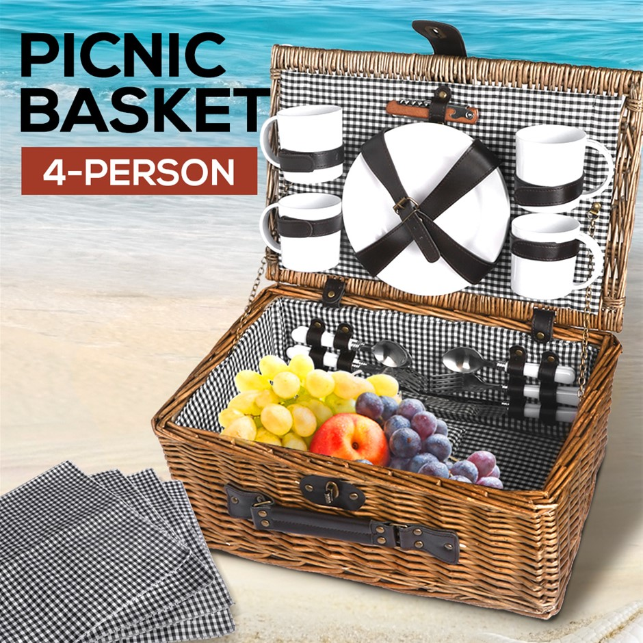 4 Person Picnic Basket Baskets Set Outdoor Blanket Deluxe Willow Storage