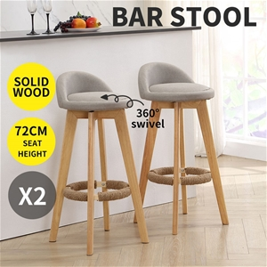 2x Fabric Swivel Bar Stool Kitchen Stool
