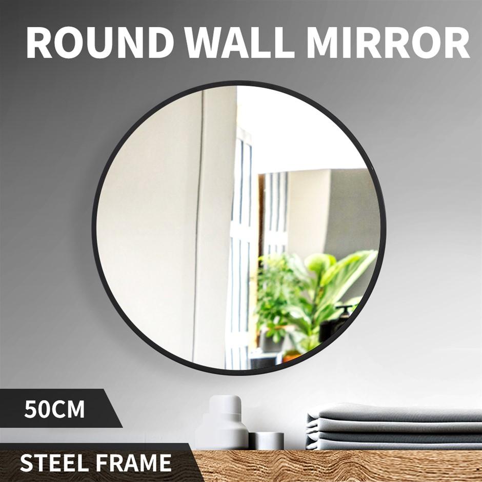 Wall Mirror Round Shaped Bathroom Makeup Mirrors Smooth Edge 50CM