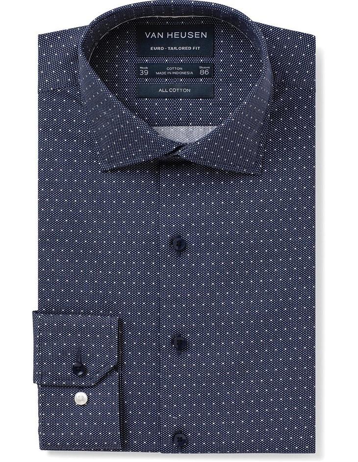 VAN HEUSEN Navy with White Spot Print Shirt. Size 38, Cotton Blend. Buyers