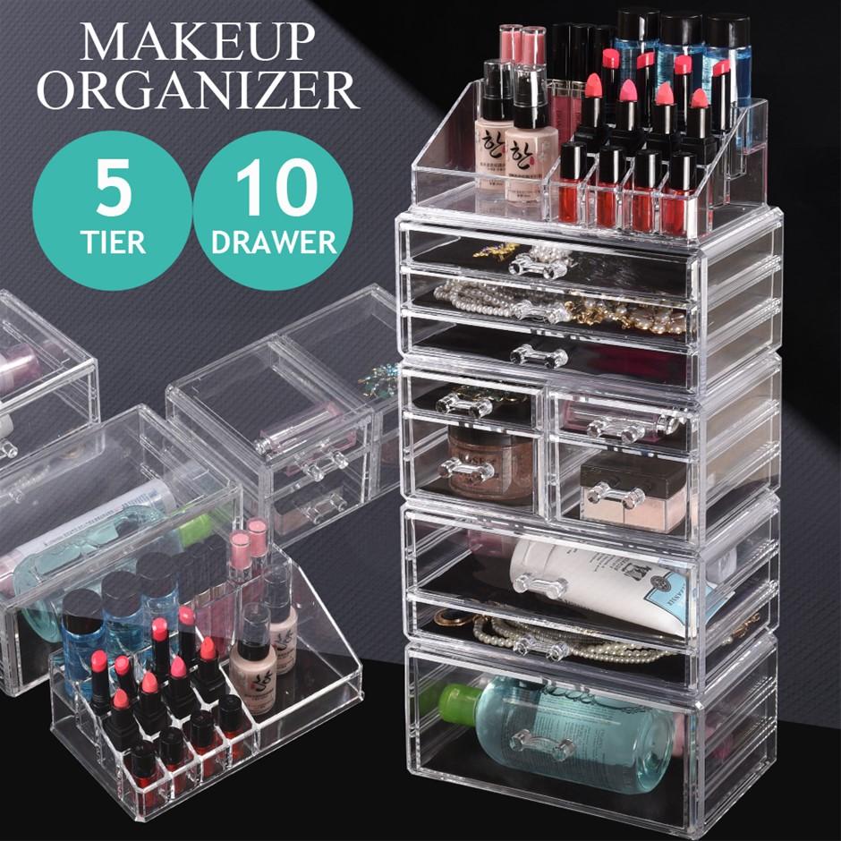 10 Drawers Cosmetic Makeup Organizer Storage Jewellery Box Clear Acrylic