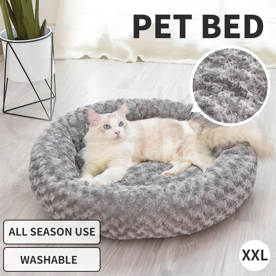 Pet Bed Dog Cat Nest Calming Donut Mat Soft Plush Cave Deep Sleeping XXL
