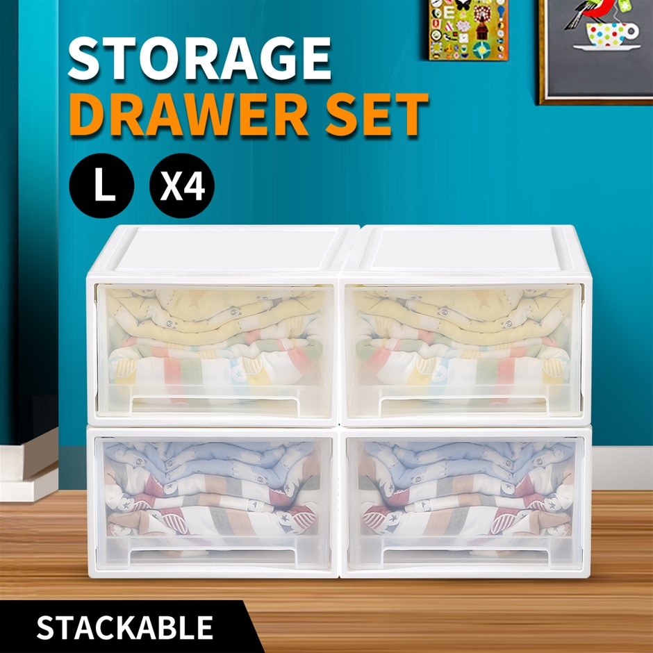 Drawers Set Cabinet Tools Organiser Box Chest Drawer Plastic Stackable