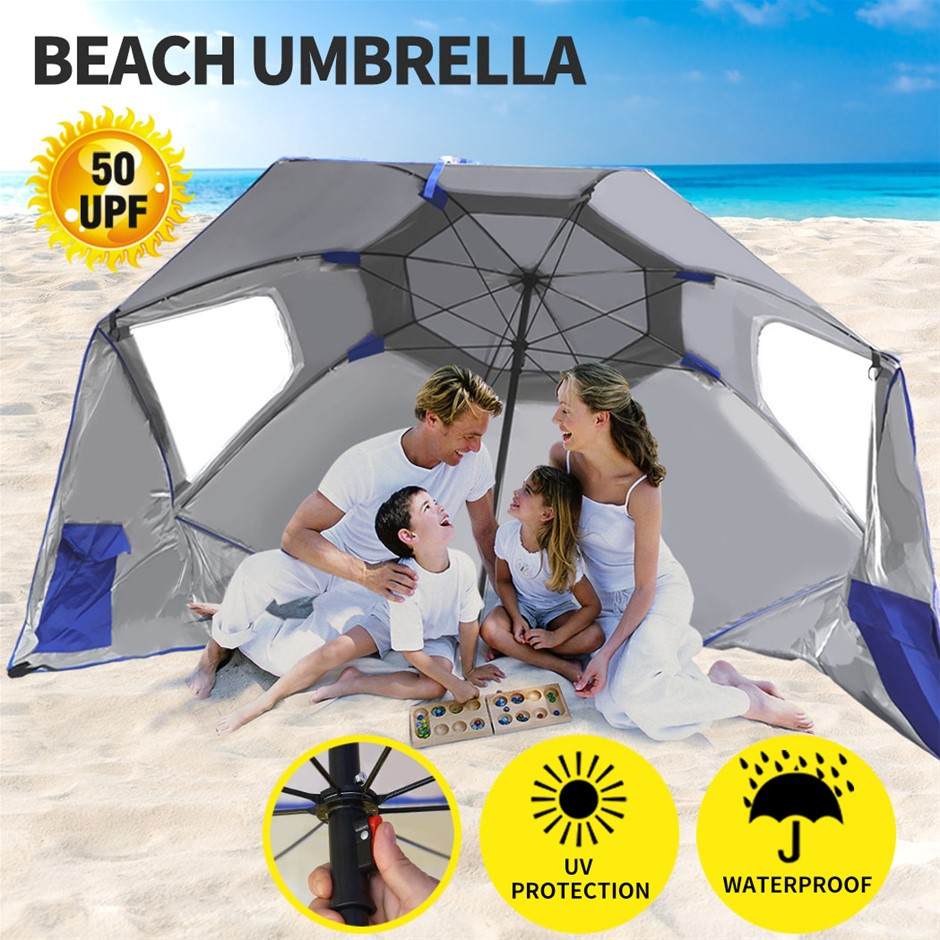 Beach Umbrella Outdoor Umbrellas Sun Shade Weather Patio Garden Shelter 2M