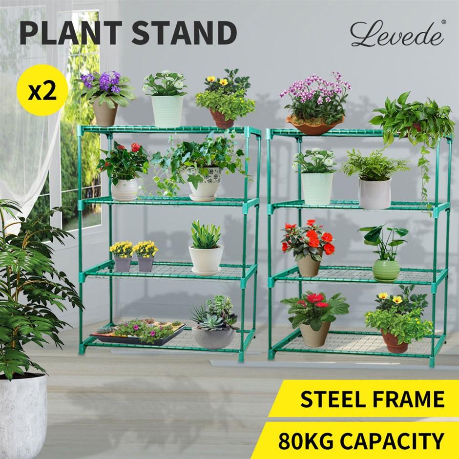 2x 4 Tier Plant Shelve Garden Greenhouse Steel Shelving Frame Stand Rack