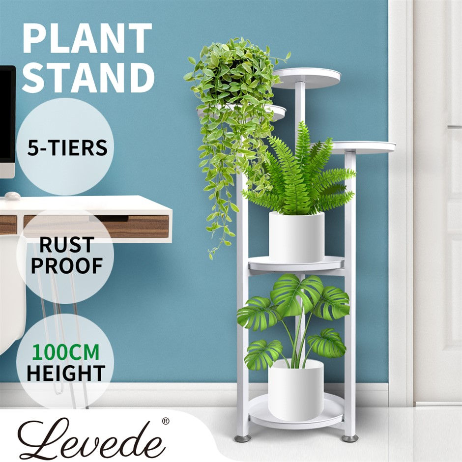 Levede Plant Stand Outdoor Indoor Flower Pots Rack Garden Shelf White 100CM