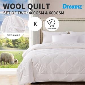 DreamZ 2x Quilts 100% Wool 400GSM/600GSM
