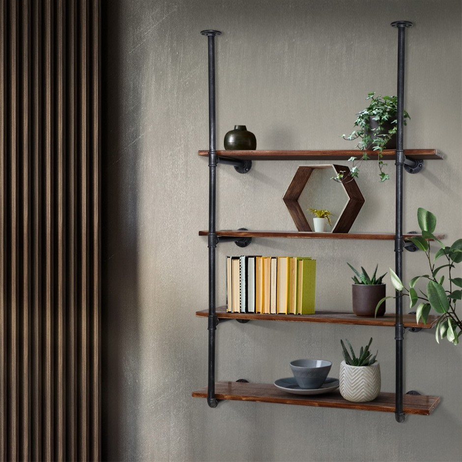 Artiss Industrial DIY Pipe Shelf Rustic Floating Wall Shelves Brackets