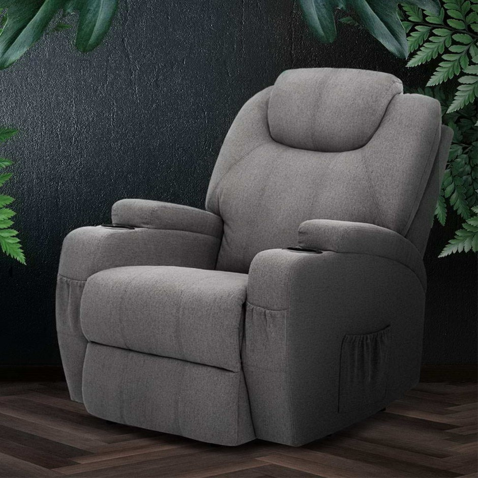 Artiss Recliner Chair Electric Massage Chairs Heated Lounge Sofa Fabric